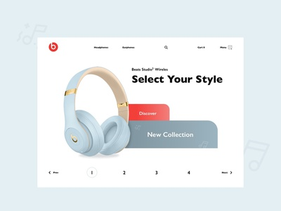 Beats Headphones profile minimal flat app music headphones web interface ux ui