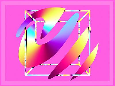 Echophon Pink sound wave square digital painting illustration