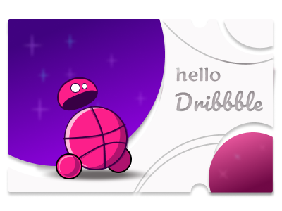 hello dribbble logo flat web vector design