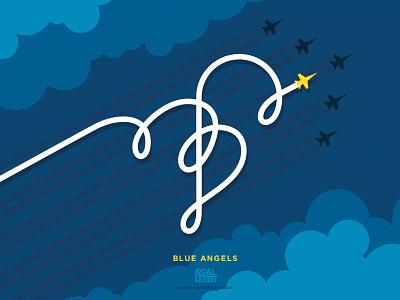 Local Letters - Blue Angels america navy typography pensacola illustration letter handlettering branding blue angels alphabet b