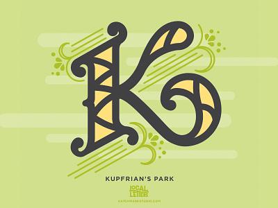 K is for Kupfrian's Park history park typography type logo swirl flourish filigree illustration handlettering branding alphabet