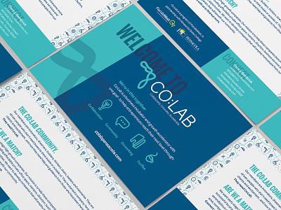 Co:Lab Collateral pattern postcard icons type logo florida entrepreneur cowork branding brand