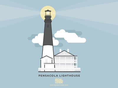 L is for Pensacola Lighthouse ocean illustration typography type nautical lighthouse l alphabet lettering