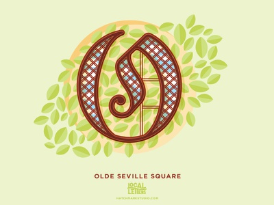 O is for Olde Seville Square park old english illustration typography type logo o alphabet lettering