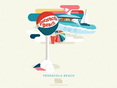 P is for Pensacola Beach waves sand florida ocean beach illustration typography type logo p alphabet lettering