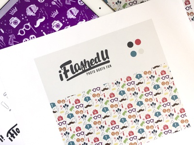 iFlashedU - Photo Booth Fun Branding process pattern illustration type lettering hand lettering photo booth logo branding brand