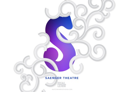 S is for Saenger Theatre glow gradient swirl filigree illustration typography type theatre theater s alphabet lettering