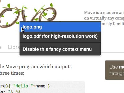 Logo context menu