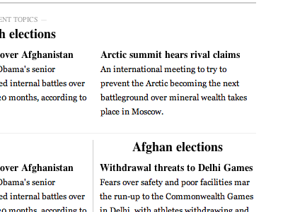 Self-organizing, topic-based news in a classic layout news web typography layout grid