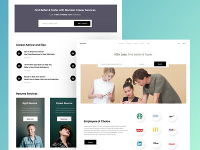 job search - Website design clean design ux ui landing pages landingpage job board employers best trendy modern minimal trend find search job