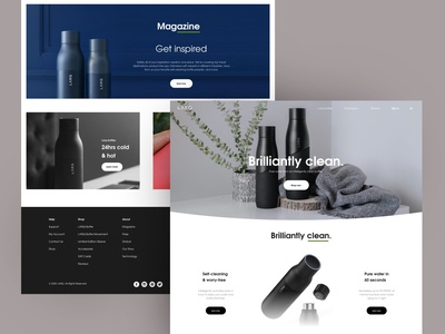 LARQ water bottle landing page exploration ux ui design new larq product design bottle water thebest awesome nice clean bright minimal product page landing page product waterbottle