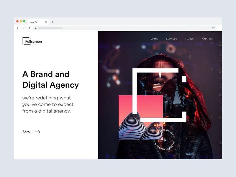 Fullscreen Design Studio website typography landing page website web ux clean minimal ui trending new design studio design