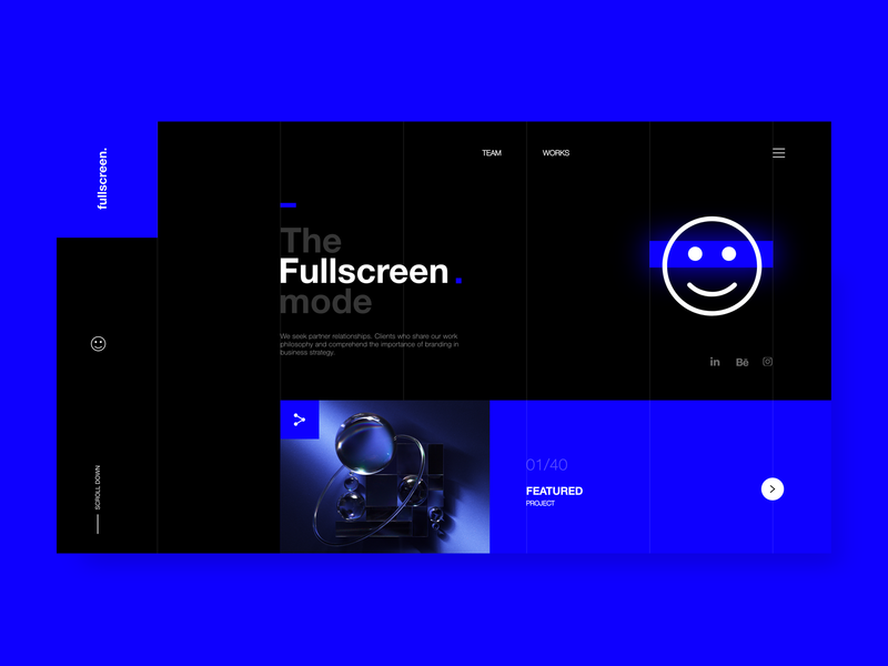 Fullscreen Design studio website ui ux web typography style new black blue color clean awesome minimal website design landing page website design studio