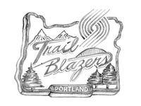 Woodcut Signage Trail Blazers