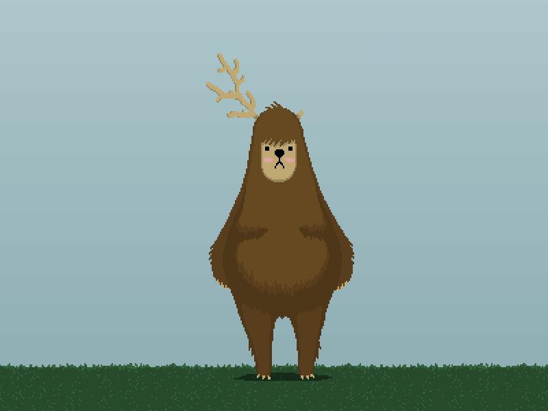 Antler pixel art bear moose random