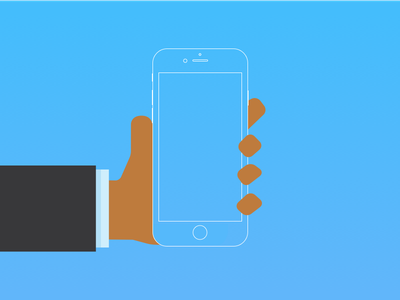 Website Left Hand Holding iPhone phone suit material flat character iphone hand