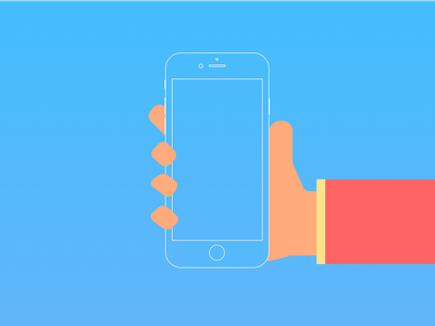 Website Right Hand Holding iPhone phone suit material flat hand character iphone