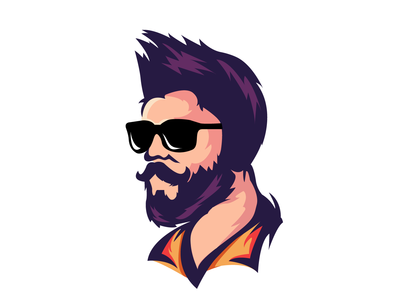 Vector Portrait - Beard Man Mascot