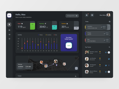 Fitness app dark fitness map graph chart statistics dashboard app interface ux ui
