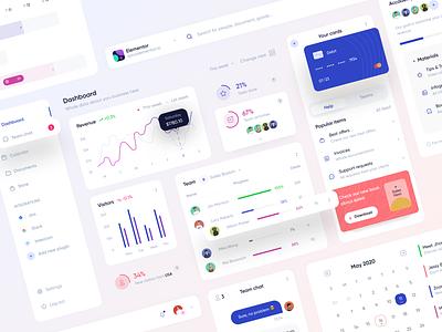Elementor UI Kit white uidesign sales task management finance graph statistics dashboard interface ux ui