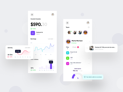 Colo podcast mobile app podcast interface ui ux mobile app finance graph chart dashboard app