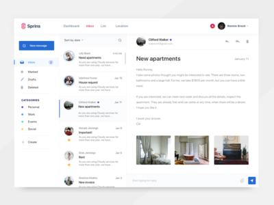Sprins inbox message interface mail chat ux ui dashboard inbox
