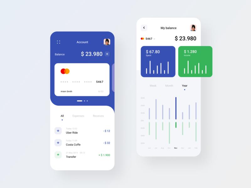 Bank Account App finance statistics chart app dashboard interface mobile app mobile ui ux ui bank card banking app banking bank
