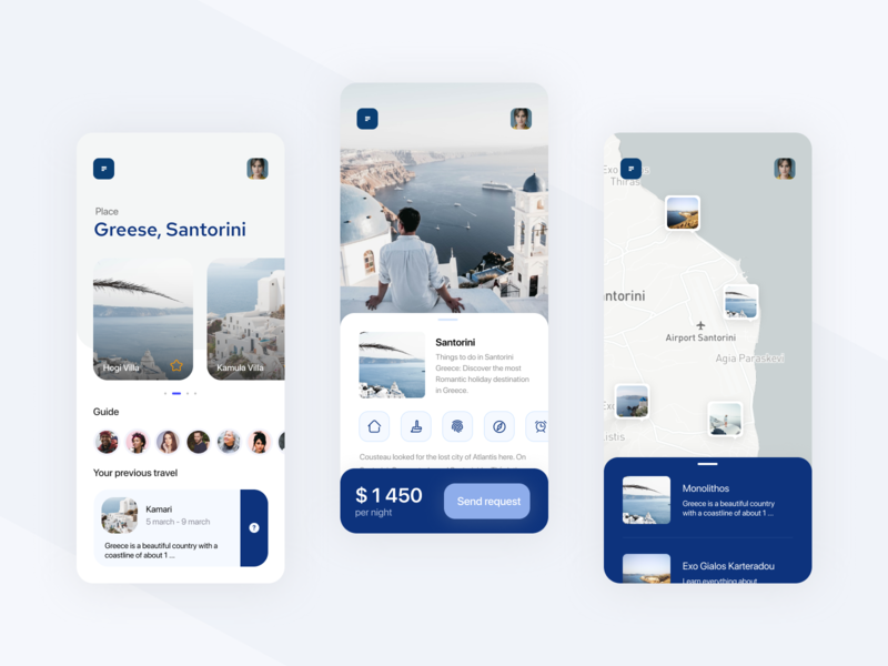 Travel app booking sea outdoor greece mobile app travel interface app ux ui