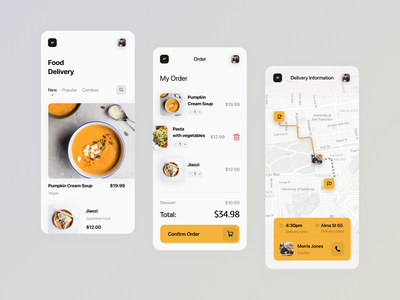 Food Delivery App restaurant shopping app food app delivery order shop shopping path courier map cafe deliver food dashboard interface app ux ui
