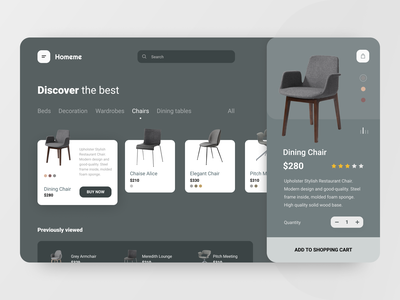 Shop destop app store ecommerce furniture store furniture chair shopping cart shopping bag shopping shop interface ux ui