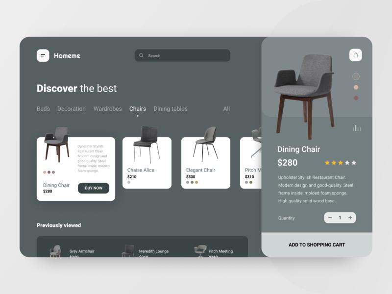 Shop destop app store ecommerce furniture store furniture chair shopping cart shopping bag shopping shop interface ux ui