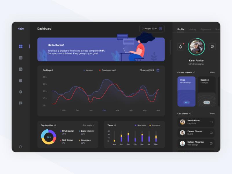 Freelance platform dark mode tasks dark theme dark mode dark ui illustration task management finance chart statistics dashboard app interface ux ui