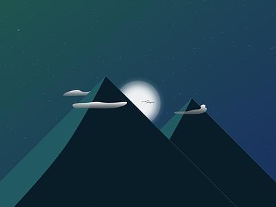 Aurora wallpaper space moon gradient minimal mountains nature 8k desktop