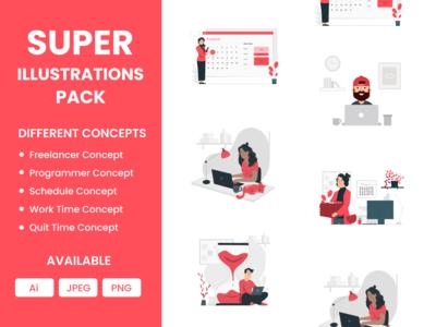 illustrations Pack header banner template theme programmer schedule work freelancer mobile app web illustration