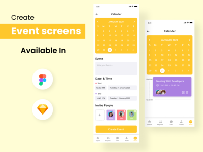 Create Event App screens figma people invite time date event calender ios app