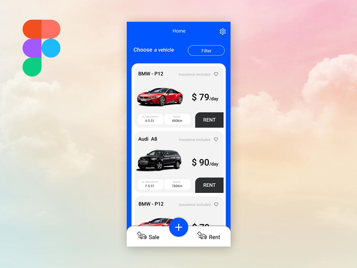 Car rent & sale app Screen sale rent app car