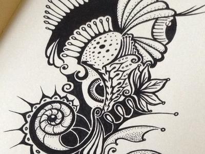 Pufferhorse ink drawing