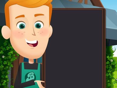 Barista Blitz Start Screen game art illustration character