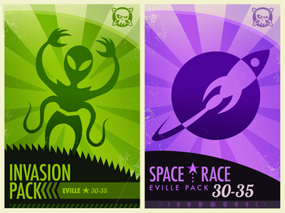 Invasion and Space Race purple green alien rocket game art vintage inspired