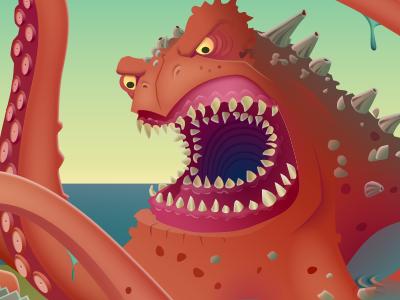 The Kraken sea monster squid teeth illustration game art