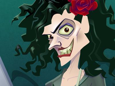 Batty Botanist creepy scary mad evil female character flower