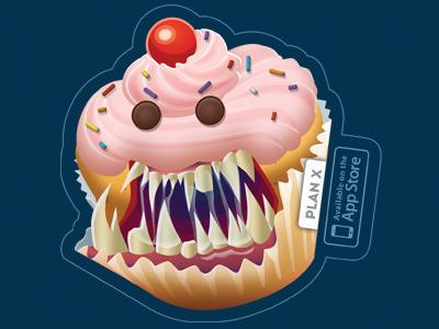 Sweet Tooth Sticker cupcake illustration sticker monster