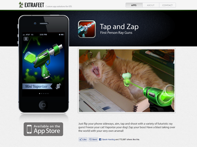 Subpage of Extrafeet site website mobile app rayguns