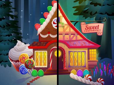 Sweet Emporium game art gingerbread house illustration
