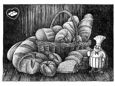Amor en Pan amor en pan emiliano raspante ink wash pen art blanckandwhite character art characterdesign illustration art illustration draw comicart
