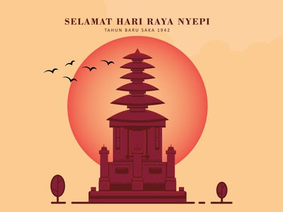 Hari Raya Nyepi vector illustration flat design