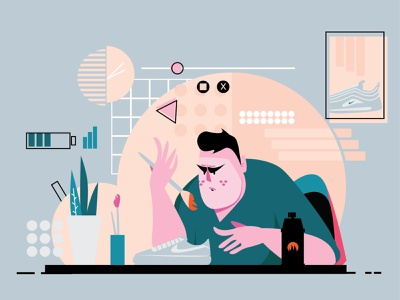 Stay Productive and Creative vector illustration flat design