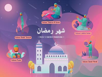 Ramadhan animation web app typography ui illustration design