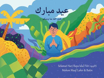 Eid Mubarak flat vector illustration design