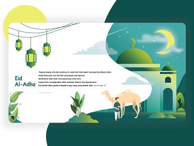 Eid Al - Adha Mubarak illustrator minimal website web typography ui flat vector illustration design